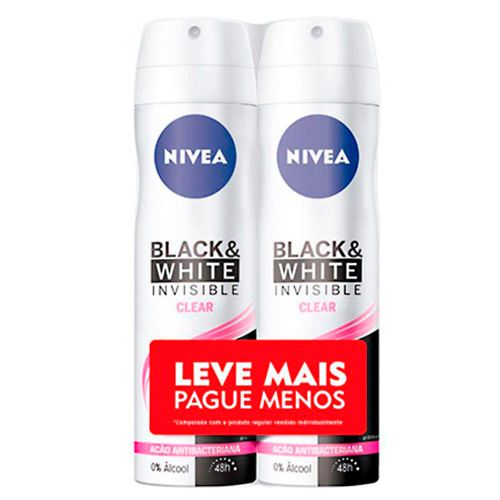 Kit Desodorante Aerossol Nivea Black & White Clear 150ml 2 Unidades