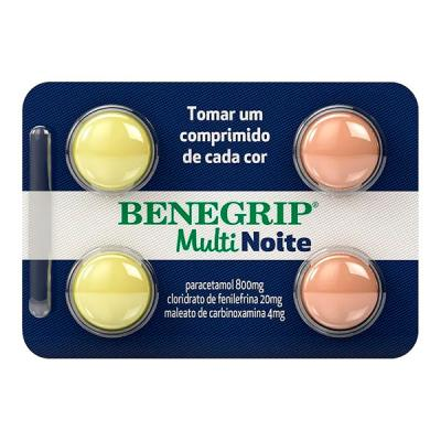 Benegrip Multi Noite 4 Comprimidos 800mg /20mg