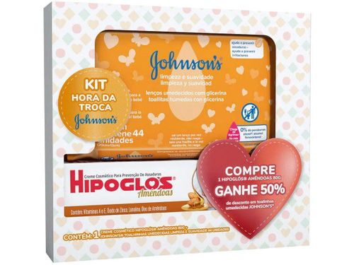 Kit Johnson & Johnson Preventivo Contra Assaduras 80g + 44 Lenços Umedecidos