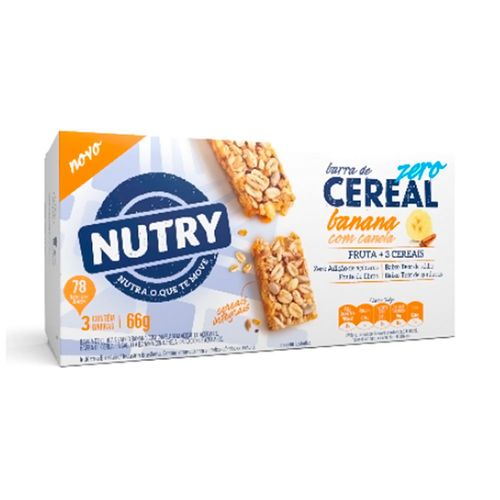 Kit Barra de Cereal Nutry Zero Banana com Canela 22mg 3 Unidades