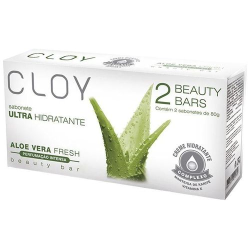 Sabonete em Barra Cloy Beauty Bars Aloe Vera Fresh 2 Unidades 80g