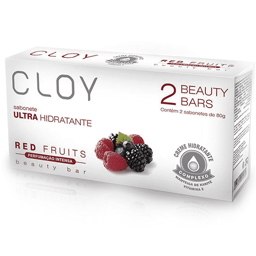 Sabonete em Barra Cloy Beauty Bars Red Fruits 2 Unidades 80g