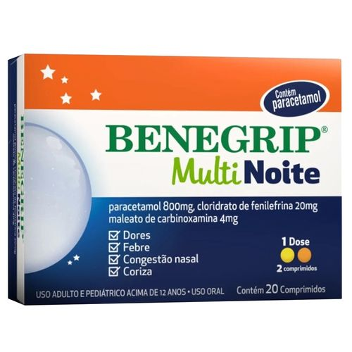 Benegrip Multi Noite 20 Comprimidos 800mg/20mg/4mg