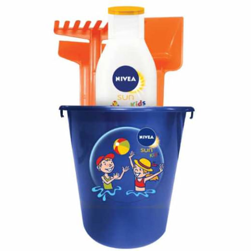 Kit Protetor Solar Nivea Sun Kids Sensitive FPS60 125ml e Baldinho