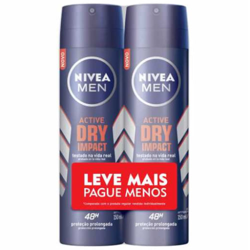 Kit Desodorante Masculino Nivea For Men Dry Impact 150ml 2 Unidades