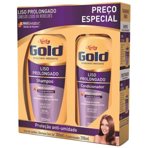 Kit Niely Gold Liso Prolongado Shampoo 300ml e Condicionador 200ml