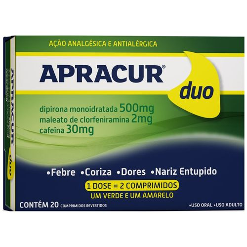 Apracur 20 Comprimidos Revestidos 500mg/2mg/30mg