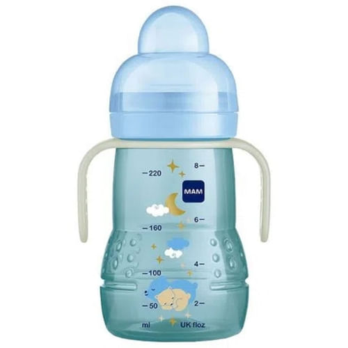 Copo MAM Trainer+ Night Azul 220ml 1 Unidade