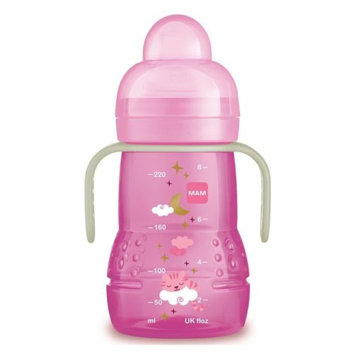Copo MAM Trainer+ Night Rosa 220ml 1 Unidade